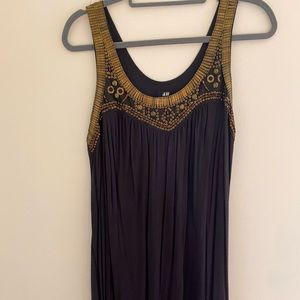 H&M brass and wood beaded dress, made in India